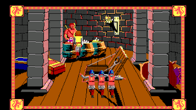 Screenshot of knights dancing in Conquests of Camelot