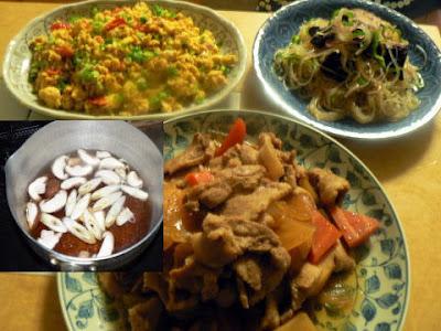 夕食の献立 献立レシピ 飽きない献立 肉煮物 辛口中華春雨 そしてトマト玉子焼き