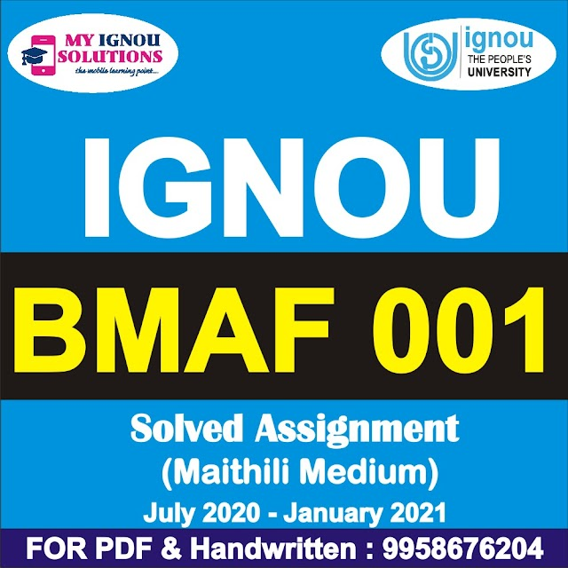 BMAF 001 Solved Assignment 2020-21