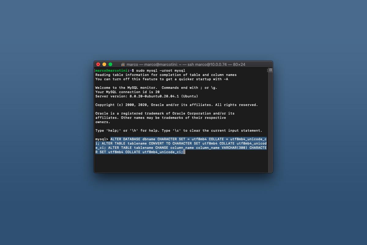 Come convertire un database di MySQL da utf8 a utf8mb4