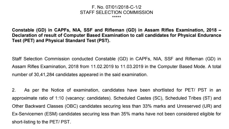 SSC GD Constable 2018 Result Declared (PDF Download)   Educate Academic