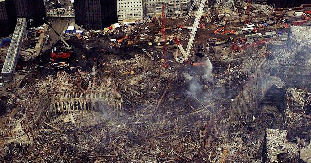 An aerial view of the still smoldering World Trade Center Complex September 26