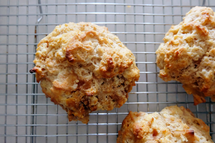 baked biscuits on cooling rack