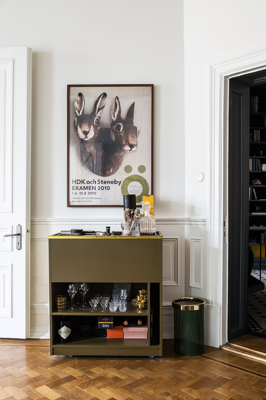 Scandinavian interior, nordic apartment, herringbone floor, bar chest,