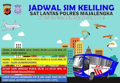 Jadwal Lengkap SIM Keliling Majalengka Bulan November 2019-IGsatlantasmjlk