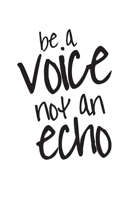 Be a voice not an echo.
