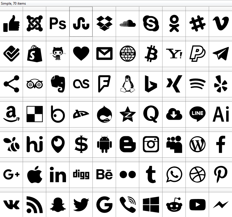 Download Font Type Icons ttf 70 icons