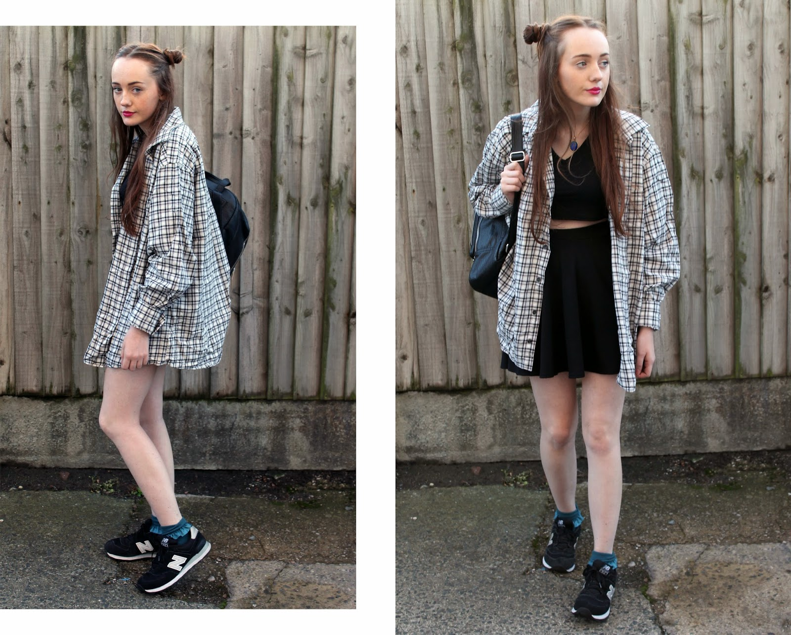 bank fashion co-ord with checked shirt, asos mood choker, asos black backpack and new balance trainers