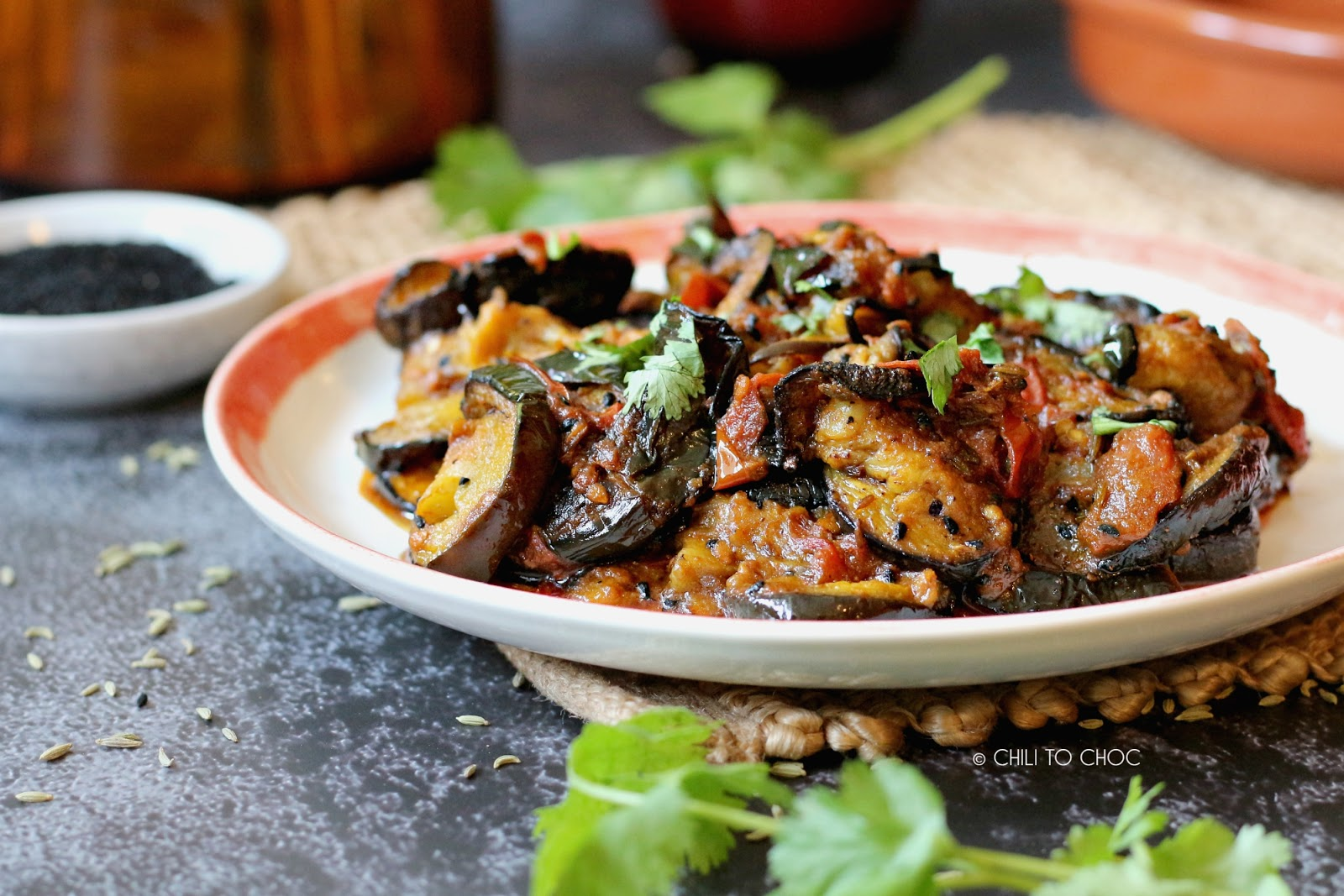 Achari Baingan (Eggplant with Pickling Spices)