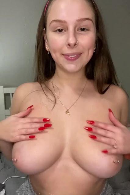 Jubilant Topless Girl Naked Big Tits Sexy Pierced Nipples