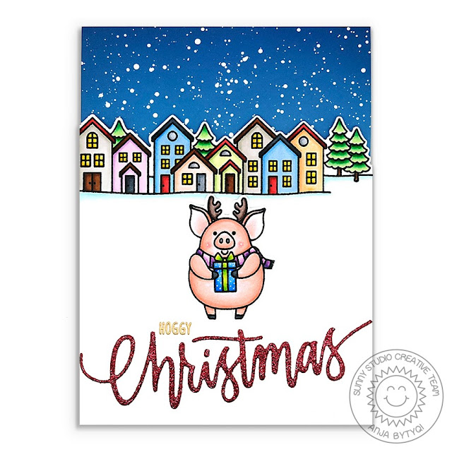 Sunny Studio Stamps: Hogs & Kisses Scenic Route Christmas Garland Frame Christmas Cards by Anja Bytyqi