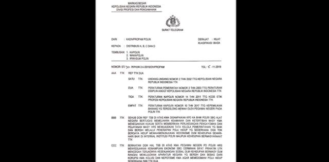 Telegram Kadiv Propam, Anggota Dan Keluarga Polisi Dilarang Pamer Kemewahan