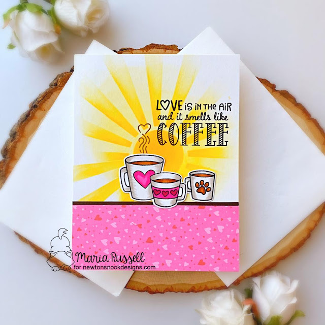 Coffee Love card by Maria Russell | Love Café Stamp Set, Sunscape Stencil and Newton Loves Coffee Stamp Set by Newton's Nook Designs