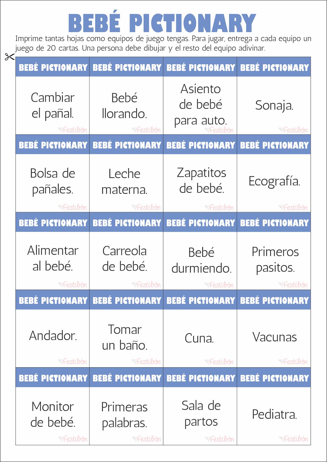 Bebe Pictionary Juegos Para Baby Shower Para Imprimir Juegos De