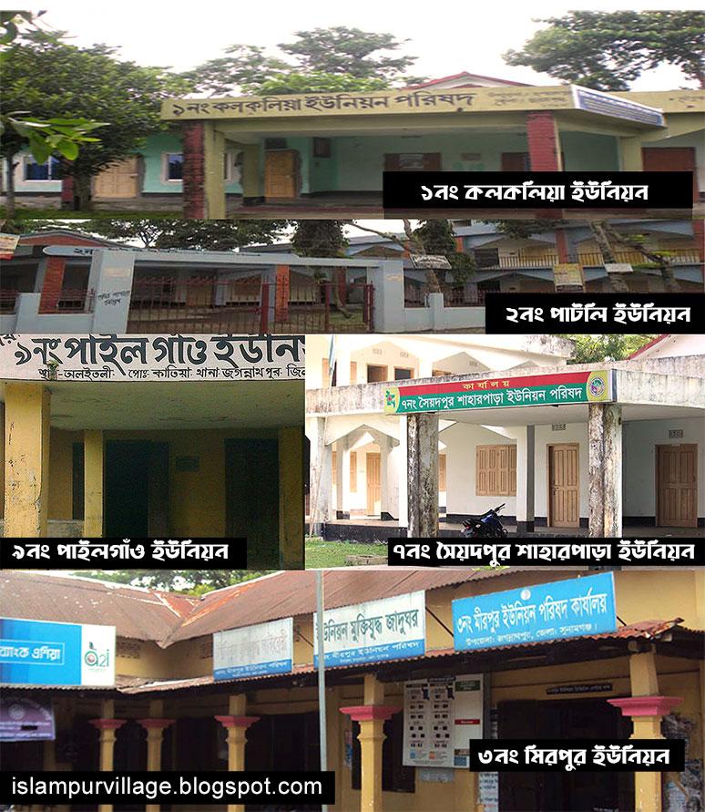 KolkoKolkolia Union; Patli Union; Mirpur Union; Jagannathpur Sadar Union; Chilaura Haldipur Union্Raniganj Union; Syedpur Shaharpara Union; Asharkandi Union; Pailgaon Union; Union Parishad; Union Council
