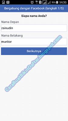 mengisi nama buat akun baru facebook