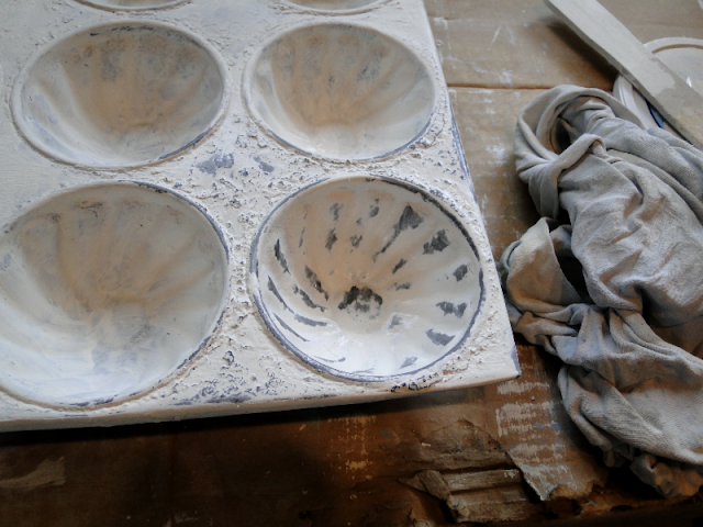 old muffin pan painted with Cottage paint