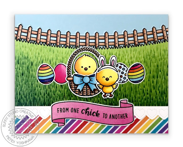Sunny Studio Blog: Easter Eggs with Basket & Chicks Handmade Card (using Chickie Baby, Spring Scenes & Banner Basics Stamps with Rainbow Bright 6x6 Paper)