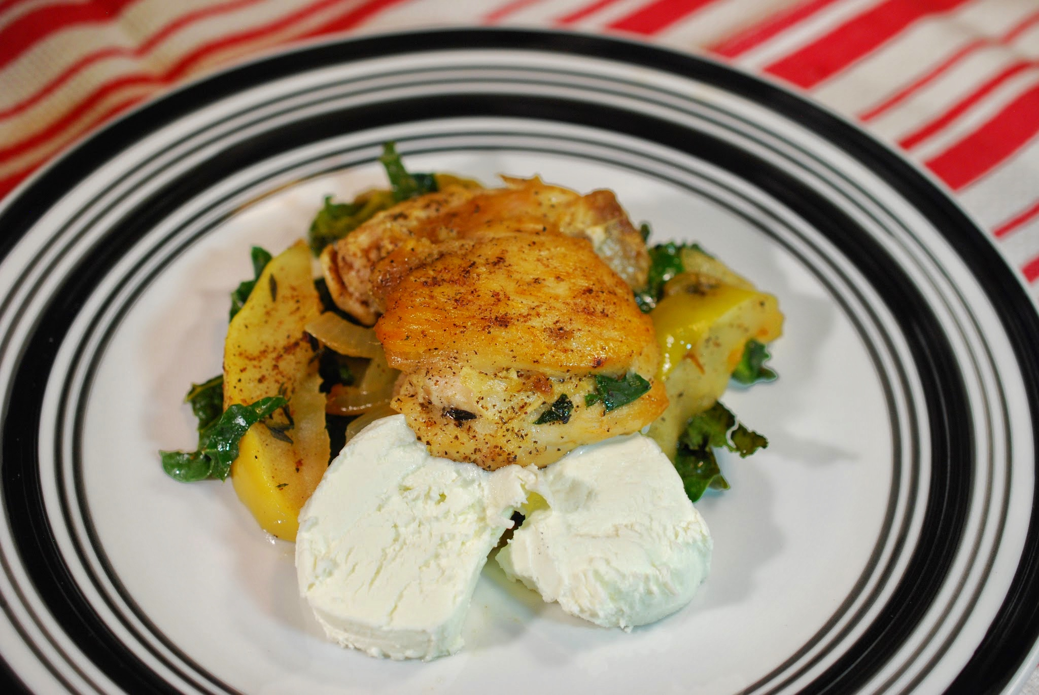 Chicken Thighs with Apples, Onions, Kale, and Goat Cheese