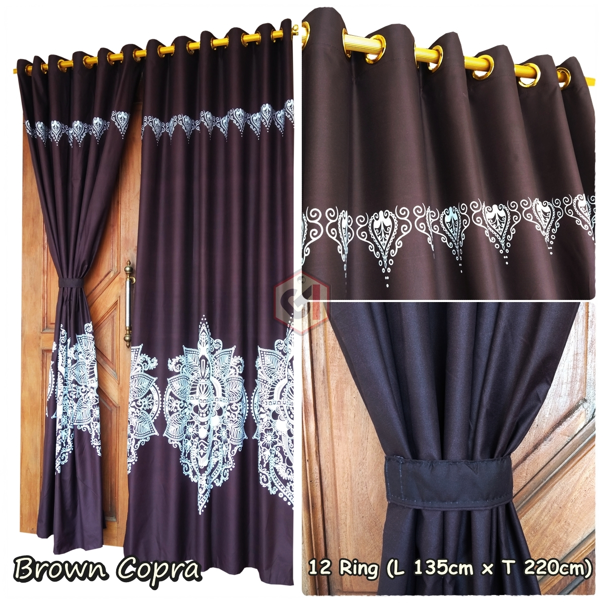 Gorden Pintu Rumah Motif Brown Copra Model Smokring 12 Ring Ukuran Panjang Murah Elegan