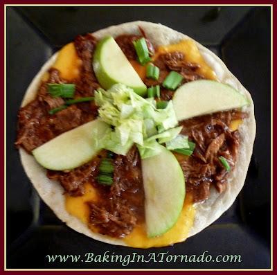 Stovetop BBQ Pork and Apple Pizza | recipe developed by www.BakingInATornado.com | #recipe #dinner