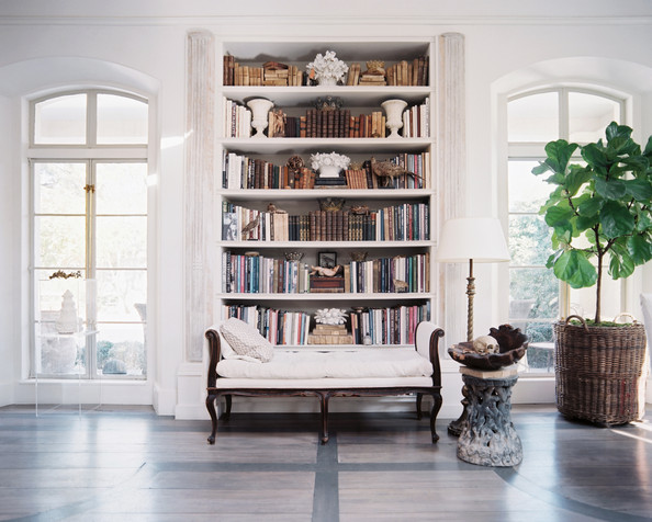 Breathtaking white French Country Kay O'Toole library in Lonny by Patrick Cline
