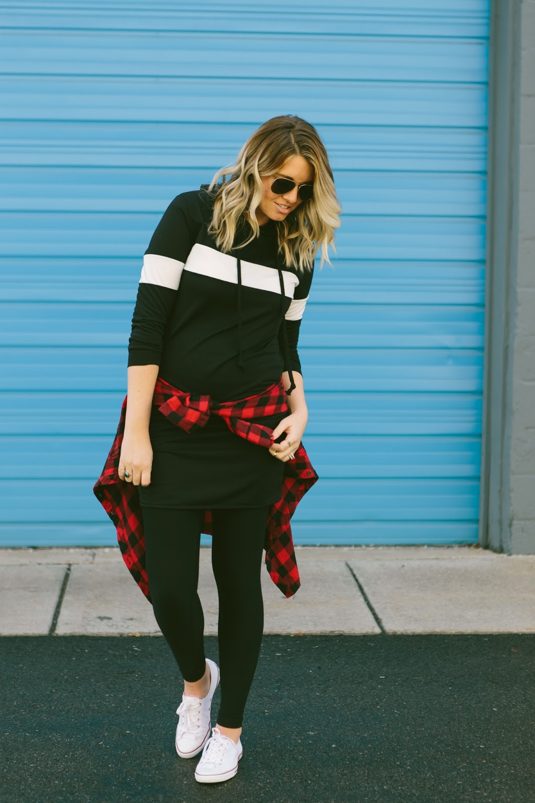 Hoodie Dress, Plaid, Sporty Outfit, Utah Fashion Blogger