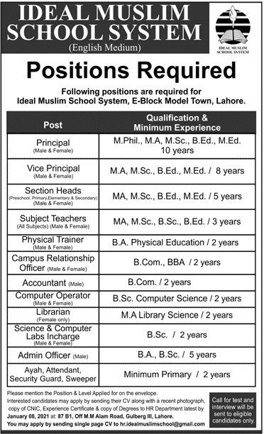 Ideal Muslim School System Jobs 2021 - School Teaching Jobs 2021 - Online Apply - hr.idealmuslimschool@gmail.com