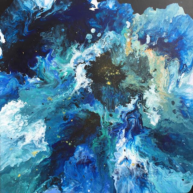 Maru Prats arte abstracto acrílico lienzo blue galaxy