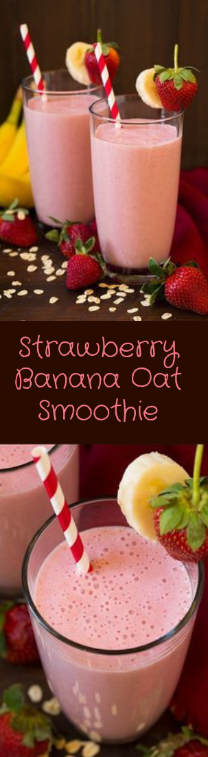 Strawberry Banana Oat Smoothie #smoothie #recipe
