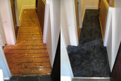 Upstairs hall from the bathroom, before and after carpeting