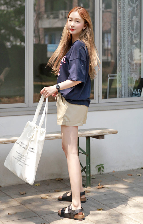 Folded Cuffs Drawstring Waist Cotton Shorts