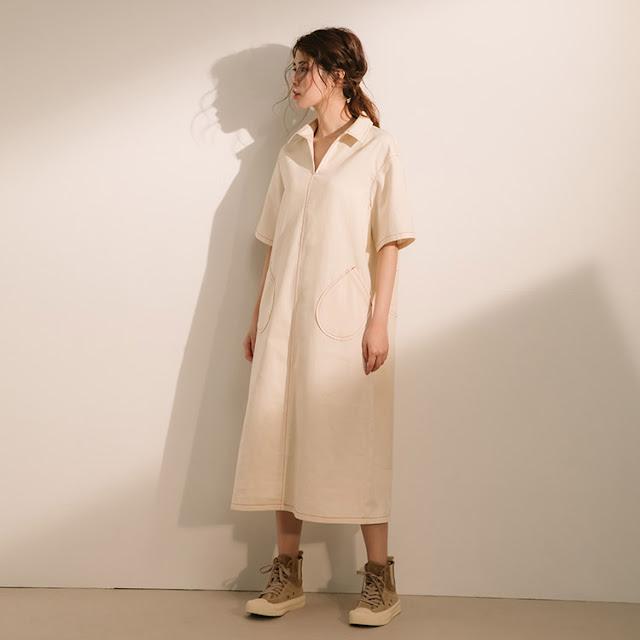 小眾生活壓線大口袋洋裝-牧羊人