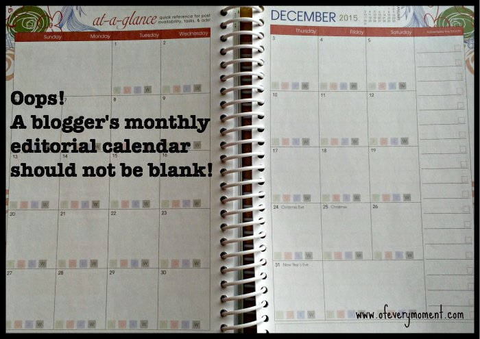 Blogging editorial calendar