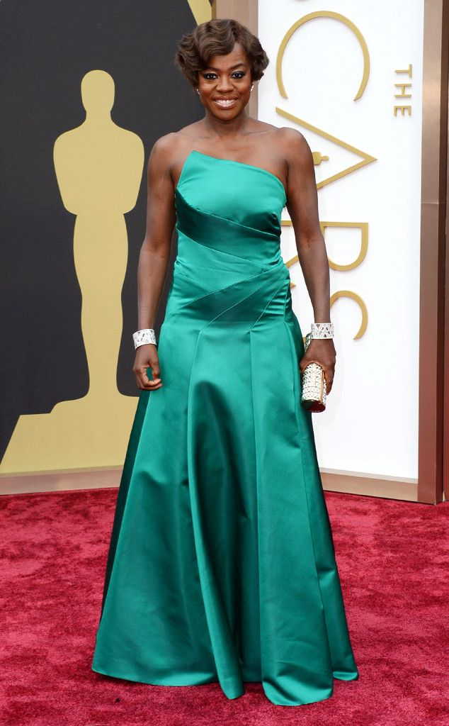 Viola Davis in a teal Escada dress at the Oscars 2014