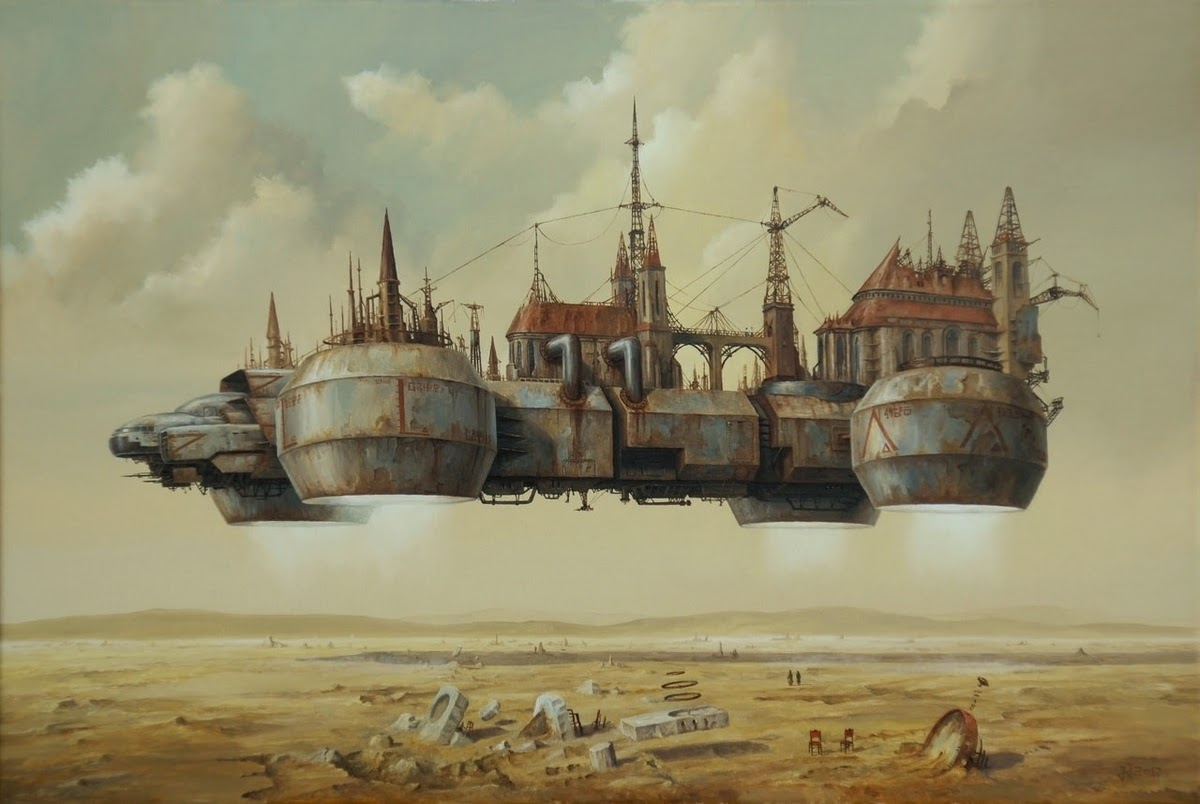 11-Rulers-of-the-Desert-Jarosław-Jaśnikowski-Paintings-of-Flying-Machines-and-Architectural-Surrealism-www-designstack-co