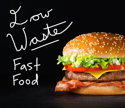 A photo with a cheeseburger on a black background with the words Low Waste Fast Food