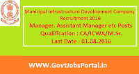 Municipal Infrastructure Development Company Recruitment 2016 for Various Posts Apply Here