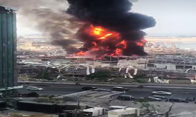 LIBAN : Important incendie en cours au port de Beyrouth