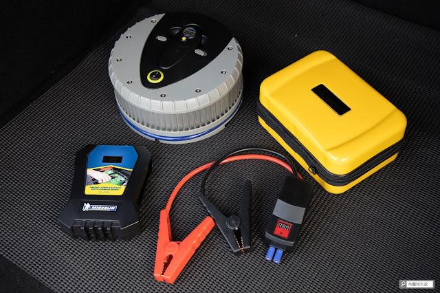 【開箱】汽油車、柴油車都能救,米其林 Michelin 汽車啟動行動電源 ML-8100 - 新的後廂組合 - 充氣機和救車電源