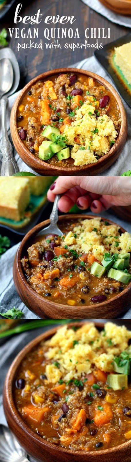 An easy quinoa chili that comes together in less than 1 hour! Easy, delicious, super healthy and so satisfying!
