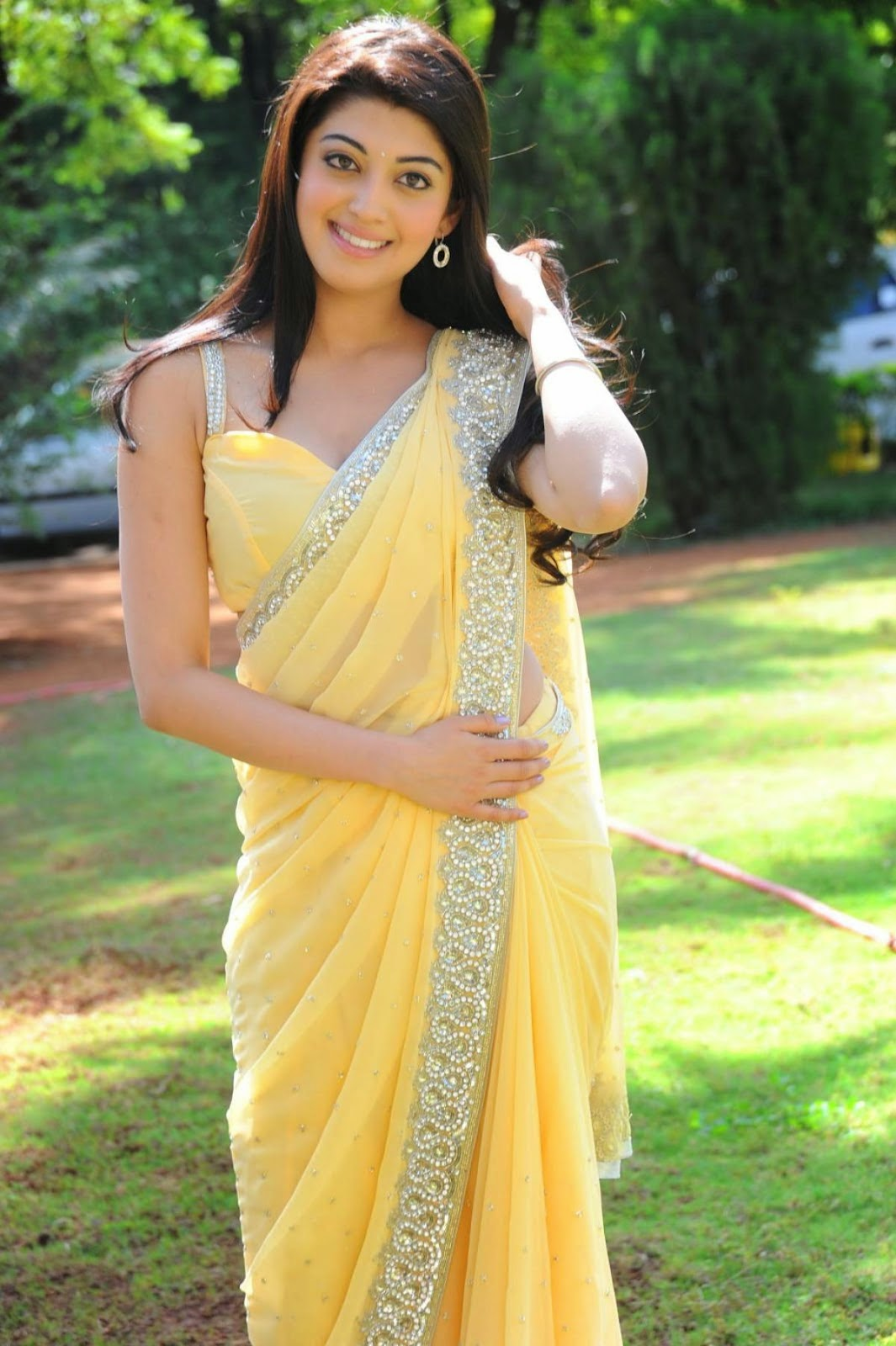 Pranitha Subhash Hot Yellow Transparent Saree Pictures -2722