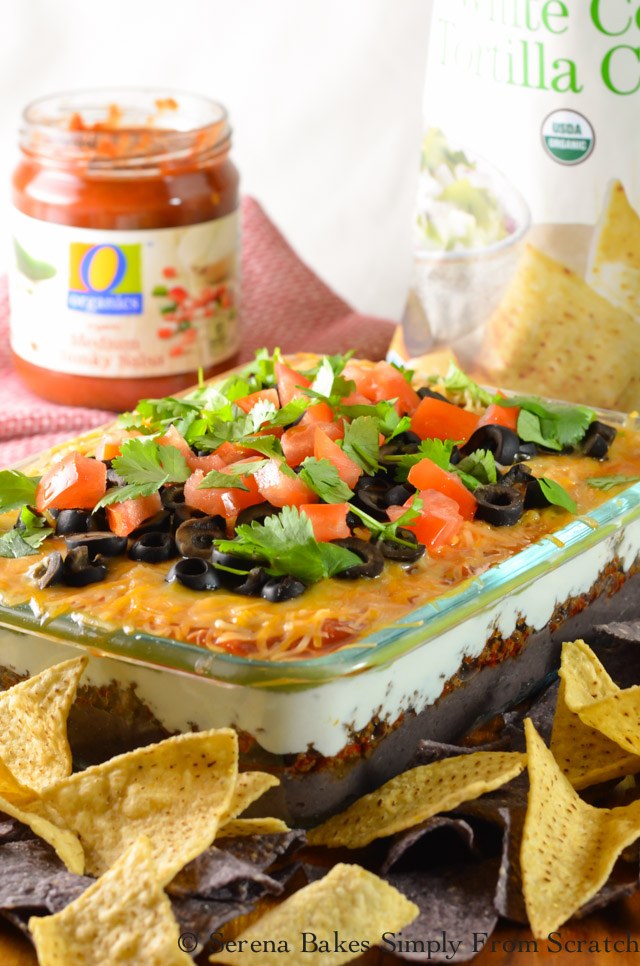 7 Layer Taco Dip is the ultimate easy snack food for tailgating!