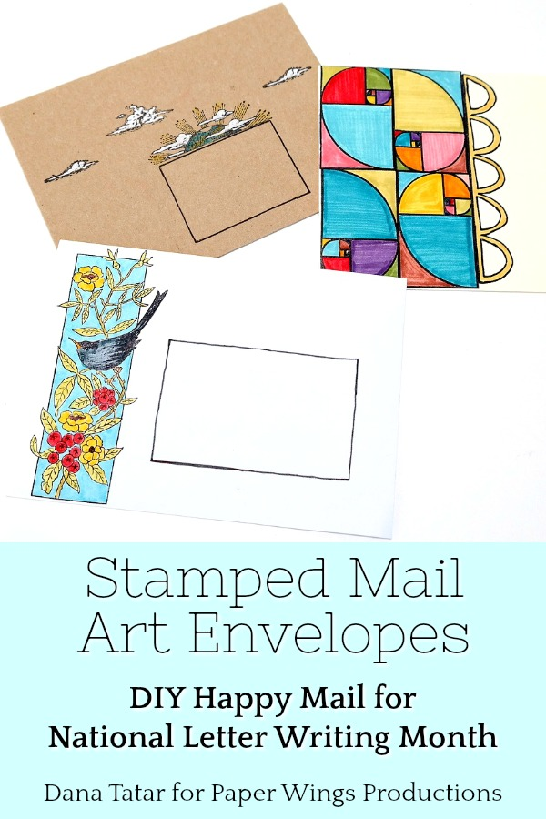 Colorfully Colored and Stamped Mail Art Envelopes for National Letter Writing Month