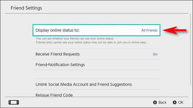 """في تبديل إعدادات المستخدم ، حدد """"عرض حالة الاتصال بالإنترنت إلى""""."""