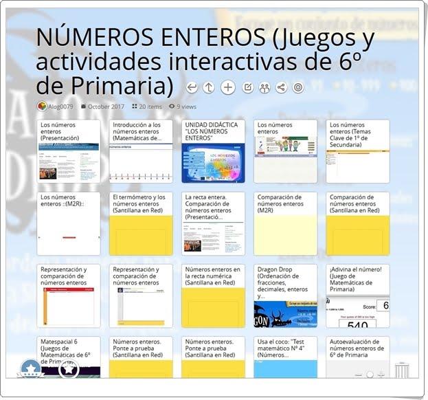 """""""20 juegos y actividades interactivas para el estudio de LOS NÚMEROS ENTEROS en 6º de Primaria"""""""