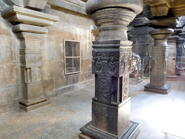 Precision carved granite pillars in the shrine room of the Bhoga Nandeeshwara Temple, Karnataka