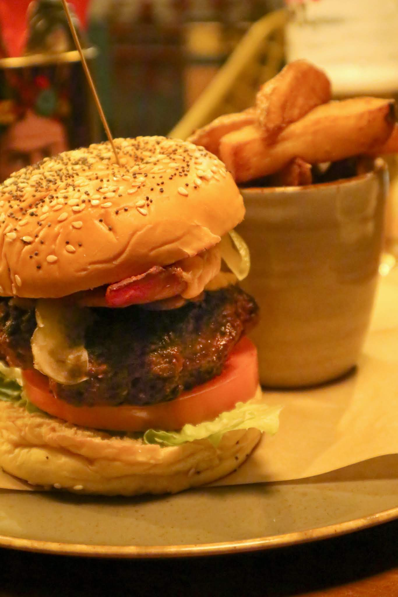 The signature burger from The Ship's Cat in the Fish Quay, North Shields