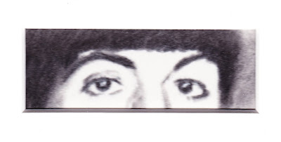 """""""Eyes of Paul McCartney"""" Charcoal and colored pencils on Paper, c. 2007 2 x 4.5 inches""""Eyes of Paul McCartney"""" Charcoal and colored pencils on Paper, c. 2007 2 x 4.5 inches"""