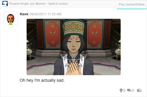 Phoenix Wright Ace Attorney Spirit of Justice Beh'leeb Inmee crying
